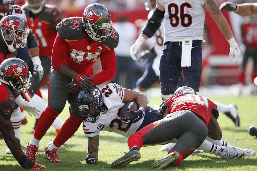 Matt Forte is tackled by the Buccaneers