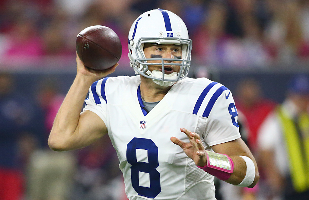 Matt Hasselbeck looks to make a play against Houston