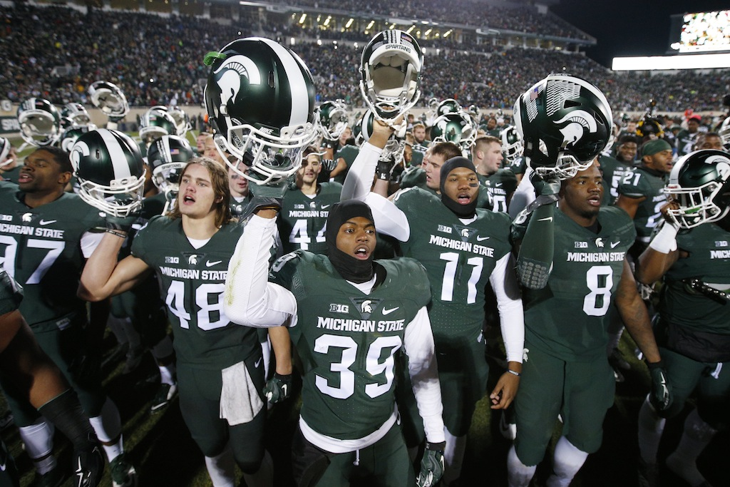 Michigan State players celebrate their victory over Penn State