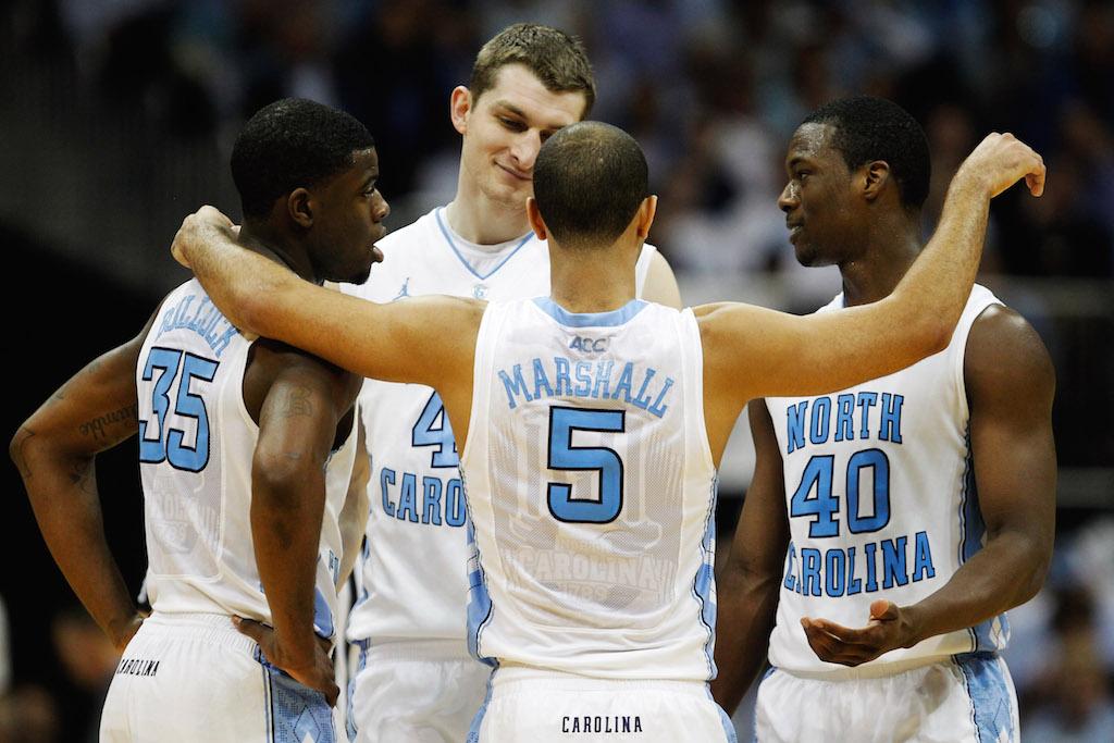 North Carolina players huddle up