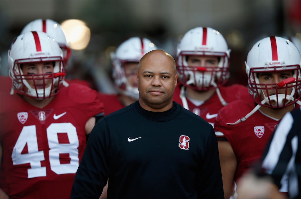 The Stanford Cardinal walk out for their game against Oregon
