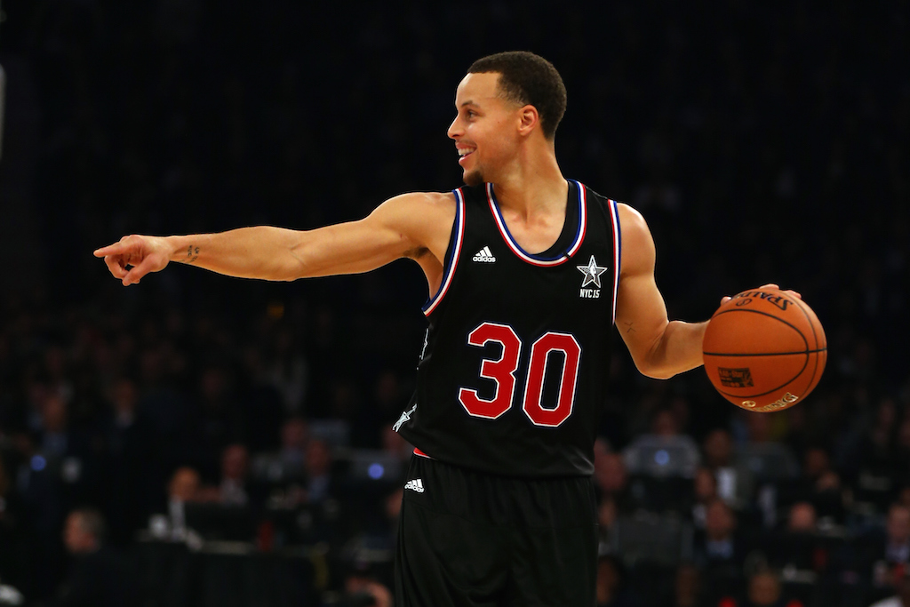 Stephen Curry dribbles during the 2015 NBA All-Star Game