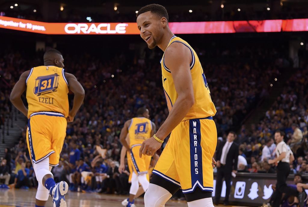 Stephen Curry reacts after a made basket