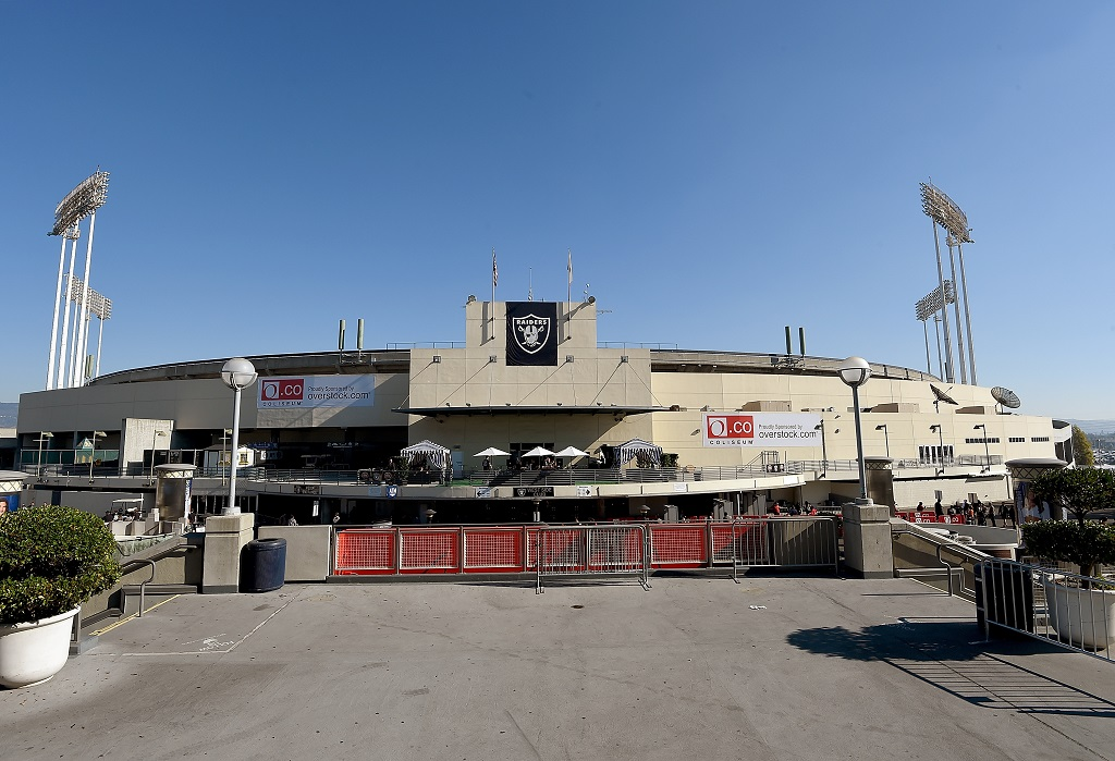 OAKLAND, CA - NOVEMBER 09: A general view of the exterior of the O.co Coliseum prior to the start of an NFL football game between the Denver Broncos and Oakland Raiders on November 9, 2014 in Oakland, California.