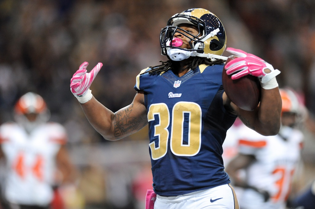 ST. LOUIS, MO - OCTOBER 25: Todd Gurley #30 of the St. Louis Rams celebrates after making a touchdown against the Cleveland Browns in the third quarter at the Edward Jones Dome on October 25, 2015 in St. Louis, Missouri. (Photo by Michael B. Thomas/Getty Images)