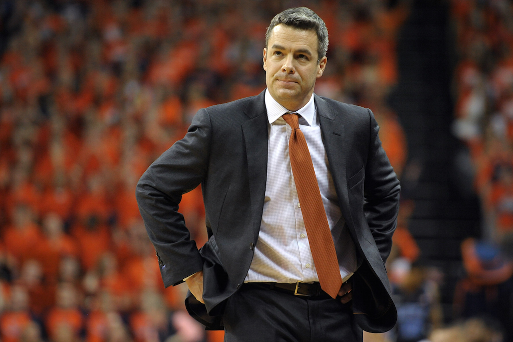 Virginia coach Tony Bennett looks on during a game against Duke