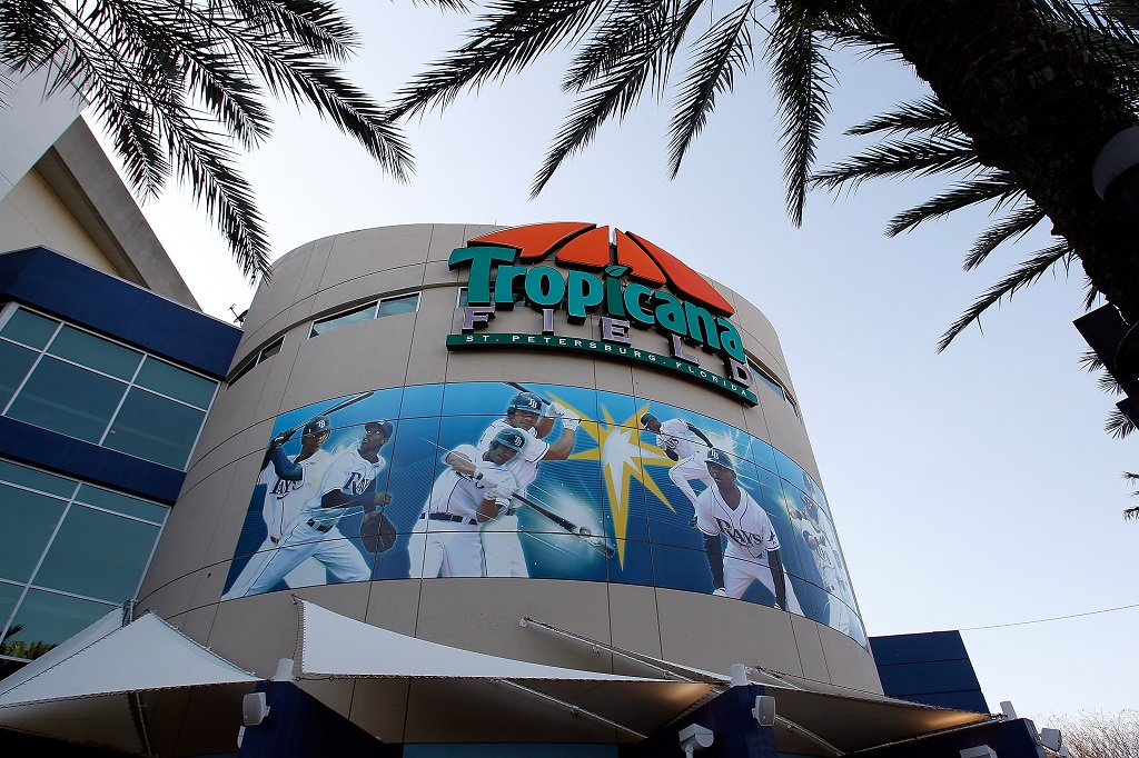ST PETERSBURG, FL - APRIL 06: An exterior view of Tropicana Field prior to the start of the home opener game between the Tampa Bay Rays and the Baltimore Orioles on April 6, 2010 in St. Petersburg, Florida.