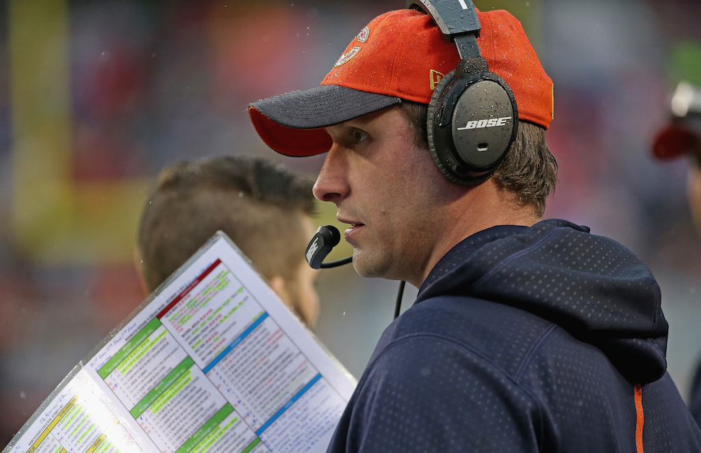 Bears OC Adam Gase calls a play during a game against the Redskins