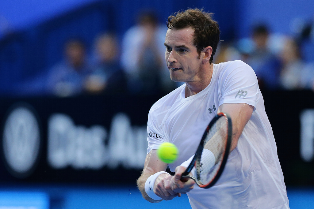 Andy Murray plays a backhand