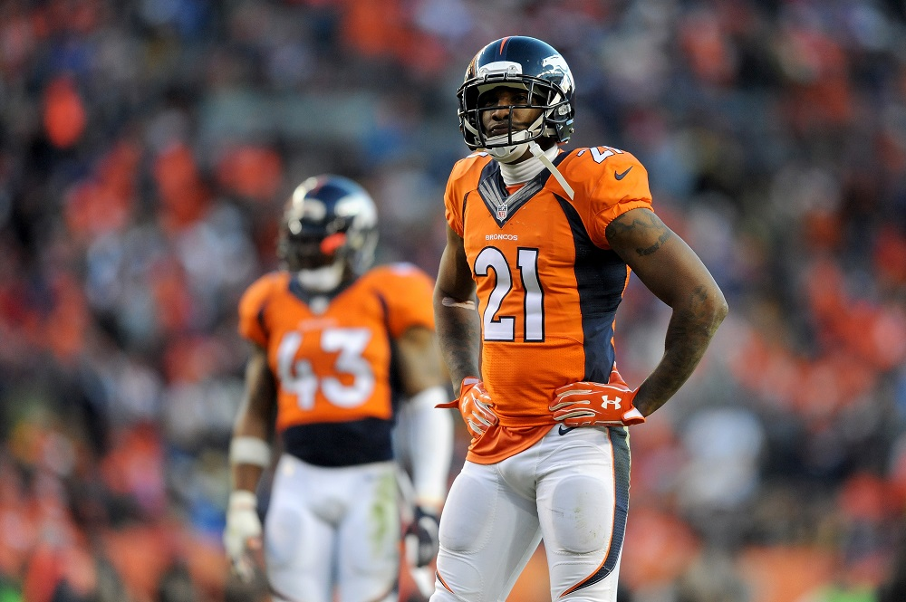 Aqib Talib #21 of the Denver Broncos in a NFL game