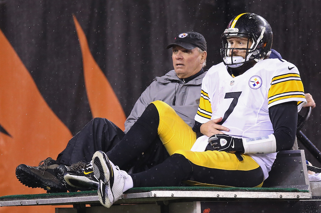 Ben Roethlisberger is carted off the field after being injured