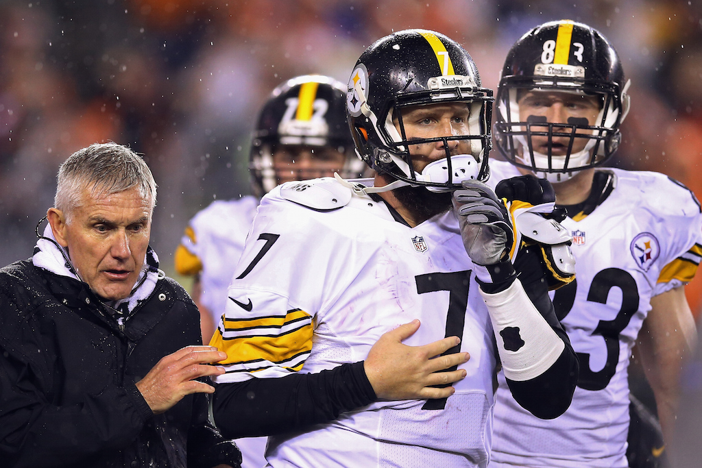 Ben Roethlisberger is helped off the field after being injured