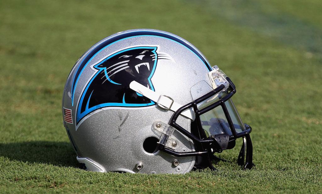 A shot of the Carolina Panthers football helmet.