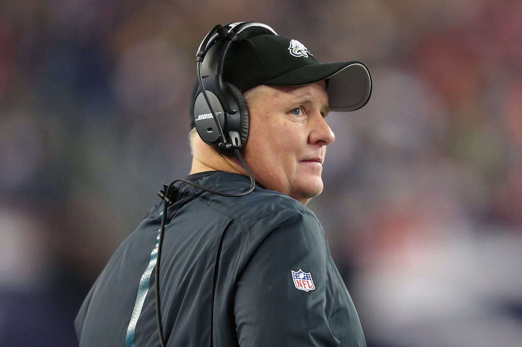 Chip Kelly looks on during a game against the Patriots