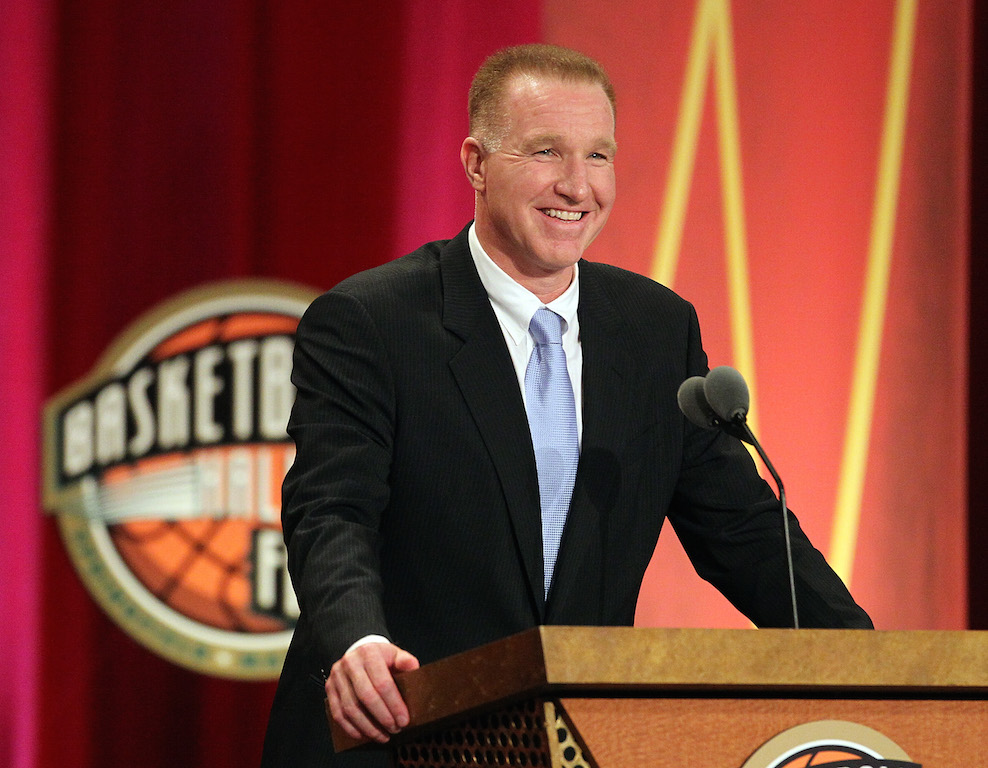 Chris Mullin speaks during the Basketball Hall of Fame Enshrinement Ceremony at Symphony Hall on August 12, 2011