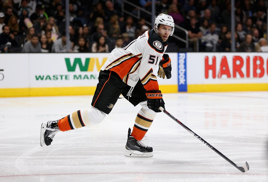 Dany Heatley #51 of the Anaheim Ducks skating in a NHL game