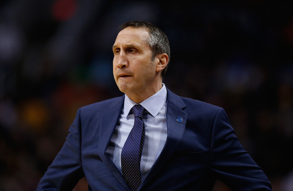 Head coach David Blatt of the Cleveland Cavaliers looks on during the NBA game against the Phoenix Suns
