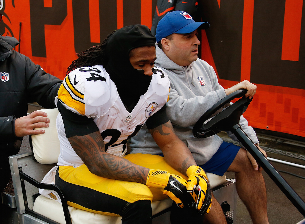 DeAngelo Williams is carted off the field