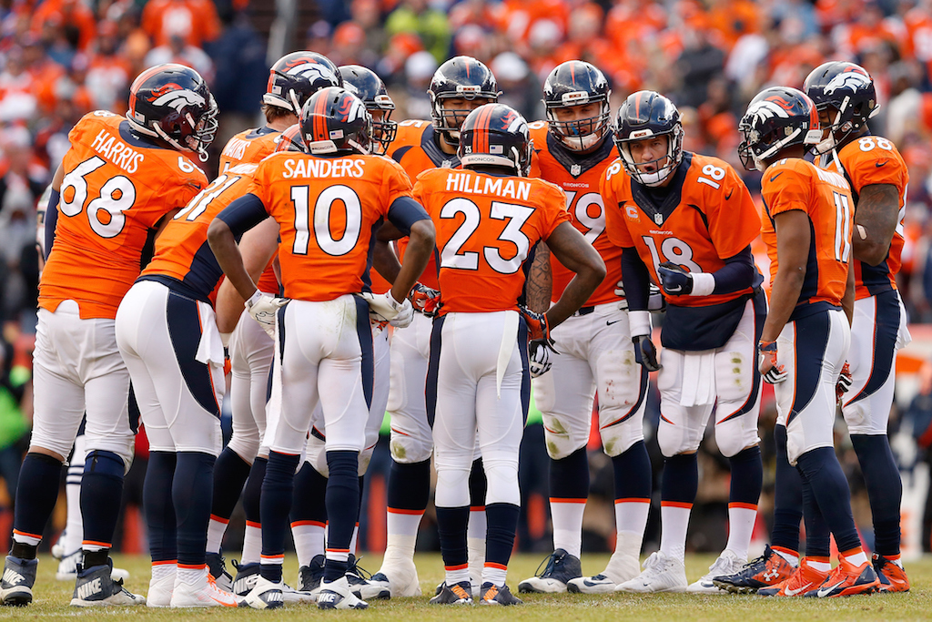 Christian Petersen/Getty ImagesDENVER, CO - JANUARY 24: Quarterback Peyton Manning #18 of the Denver Broncos talks with his team in the huddle during the AFC Championship game New England Patriots aat Sports Authority Field at Mile High on January 24, 2016 in Denver, Colorado. The Broncos defeated the Patriots 20-18. (Photo by Christian Petersen/Getty Images)