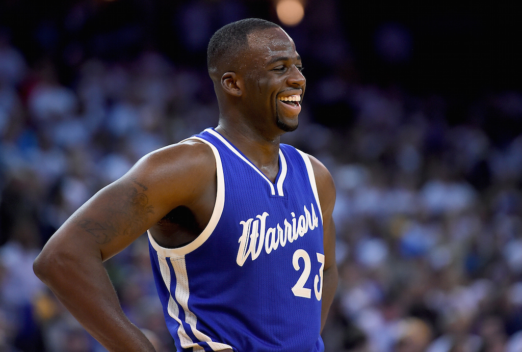Draymond Green smiles in a game against the Cavs
