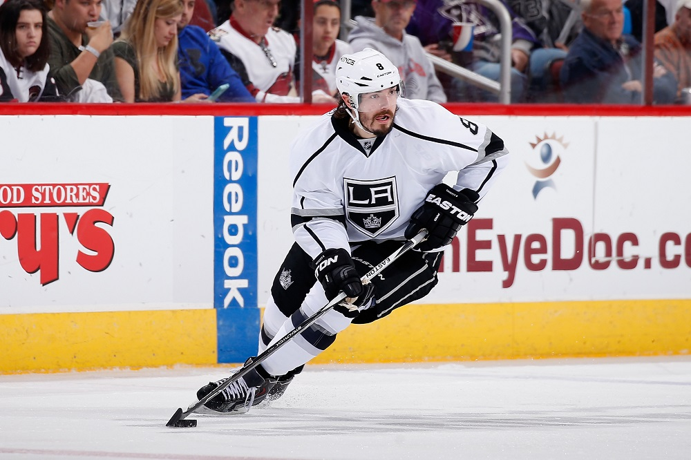 Drew Doughty #8 of the Los Angeles Kings playing hockey game