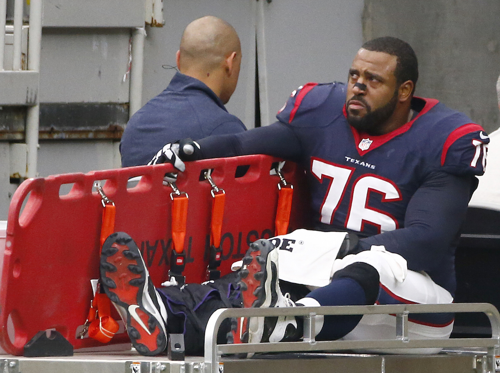 Duane Brown is carted off the field