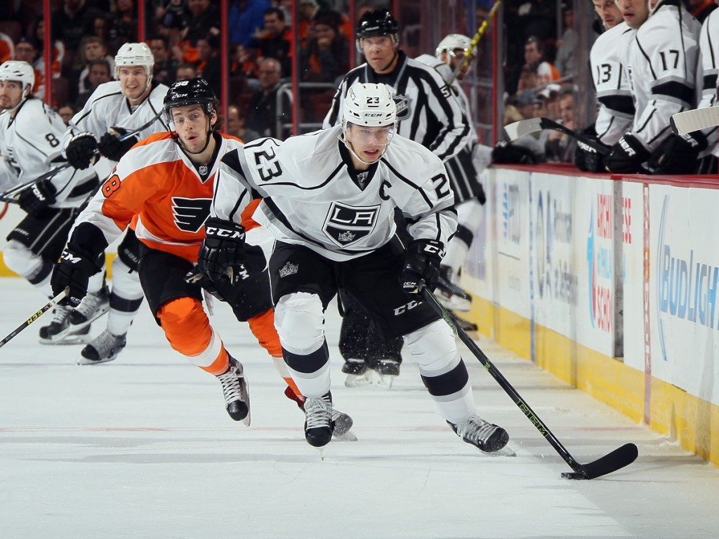 Dustin Brown playing hockey match