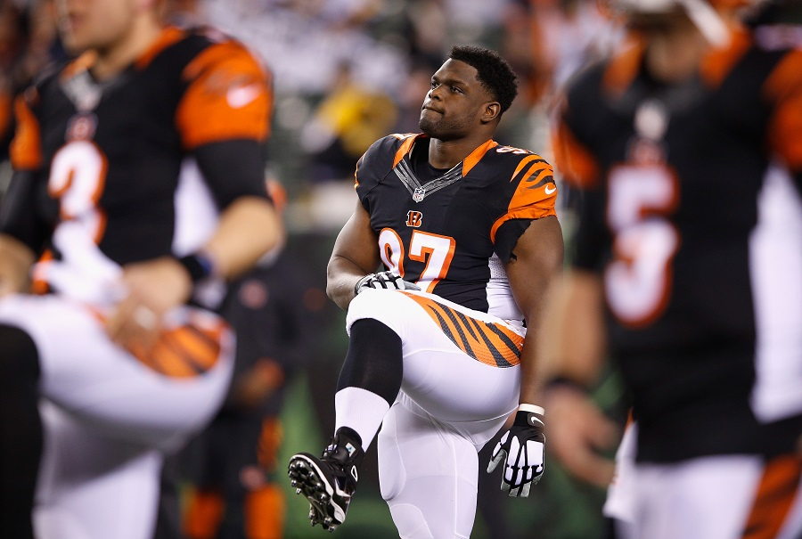 Geno Atkins #97 of the Cincinnati Bengals posing in a NFL game