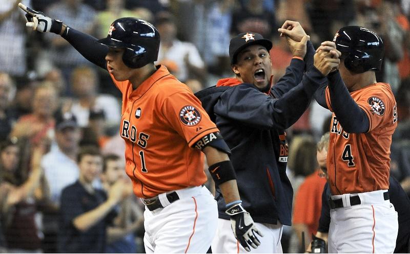 The Houston Astros celebrate a big win last season.