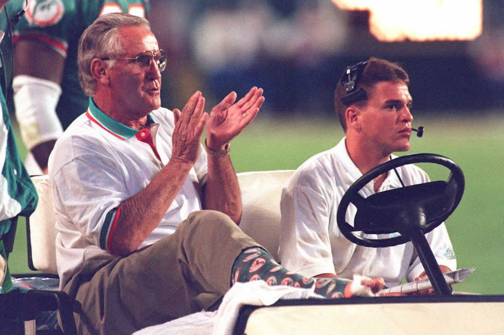 Don Shula looks on from a golf cart