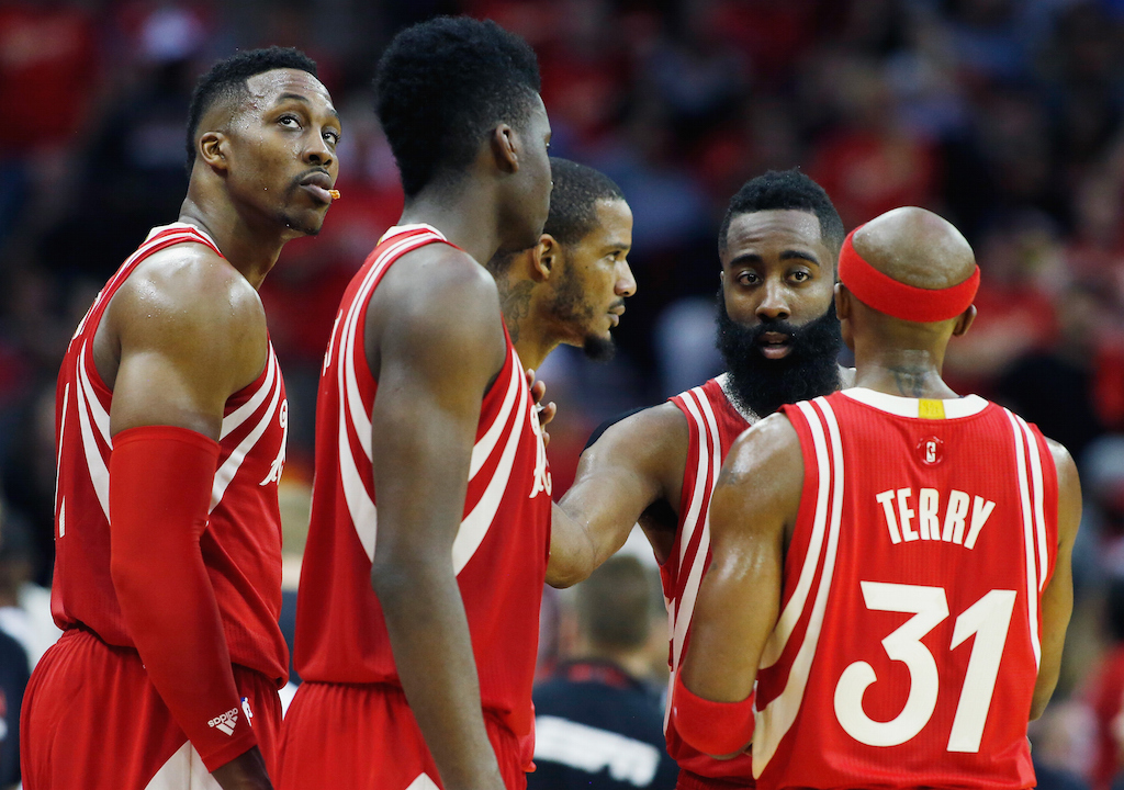 HOUSTON, TX - DECEMBER 25: during their game against the San Antonio Spurs at the Toyota Center on December 25, 2015 in Houston, Texas.