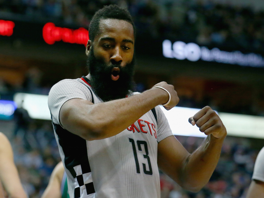James Harden reacts to a play against the Dallas Mavericks
