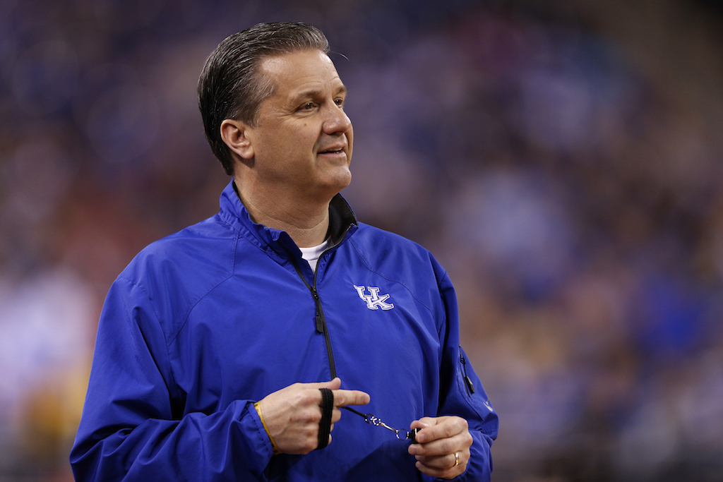 Coach John Calipari looks on during a Kentucky Wildcats practice