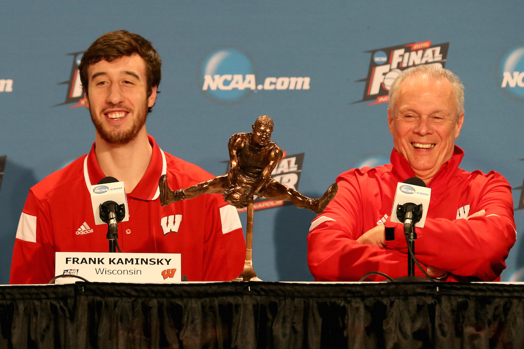 (L-R) Frank Kaminsky of the Wisconsin Badgers and his head coach Bo Ryan address the media after Kaminsky wins the Oscar Robertson National Player of the Year Award