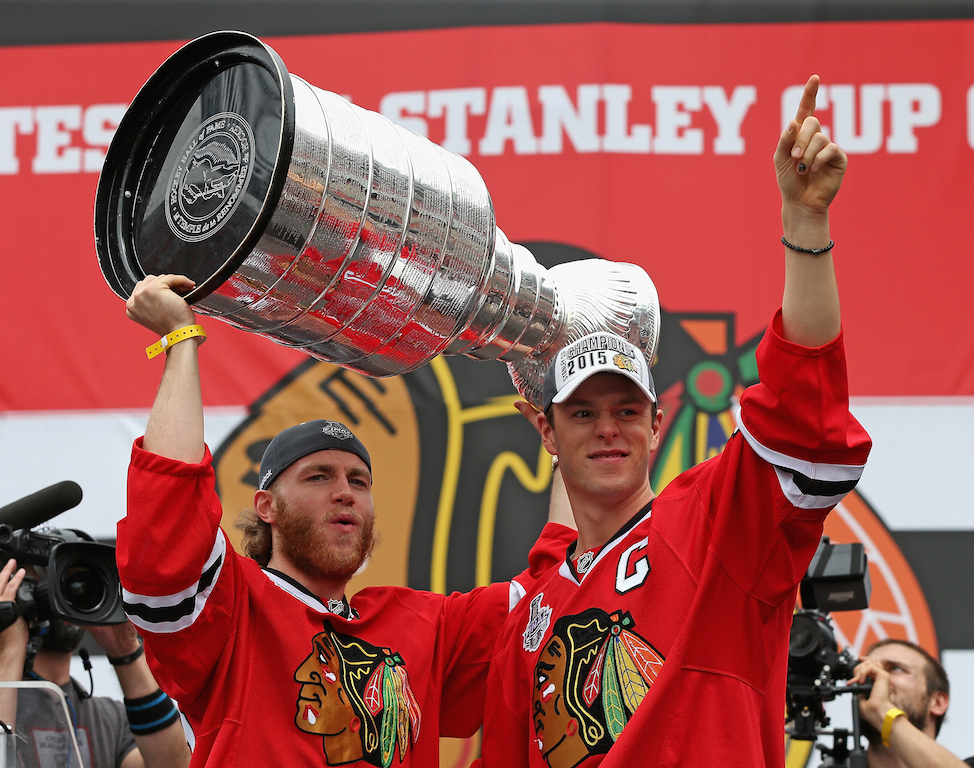 Patrick Kane and Jonathan Toews celebrate during the Blackhawks victory parade