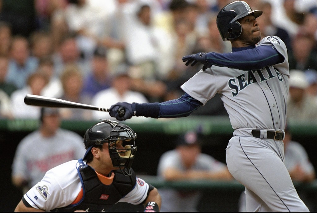 Ken Griffey Jr. takes a swing during the All-Star Game