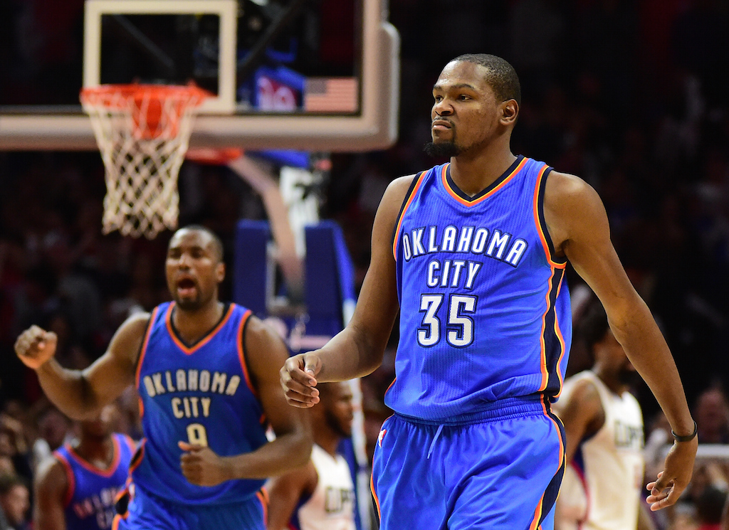 Kevin Durant reacts to a made basket