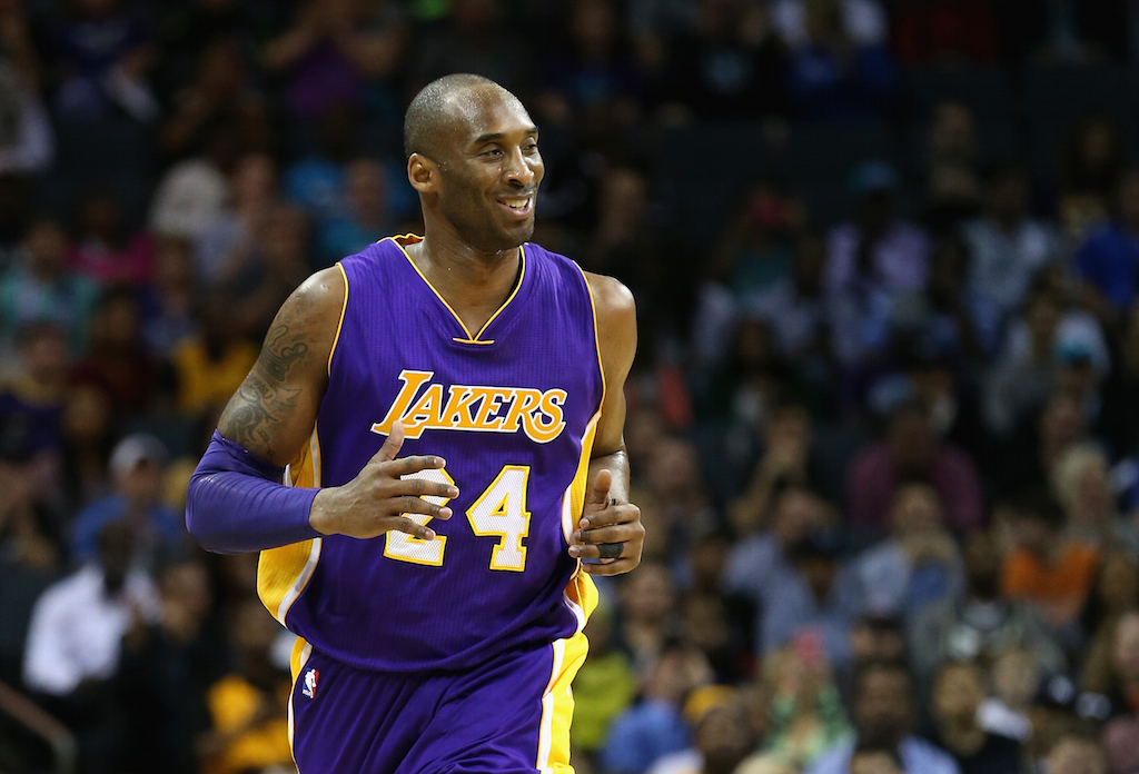 Kobe Bryant reacts during a game against the Hornets