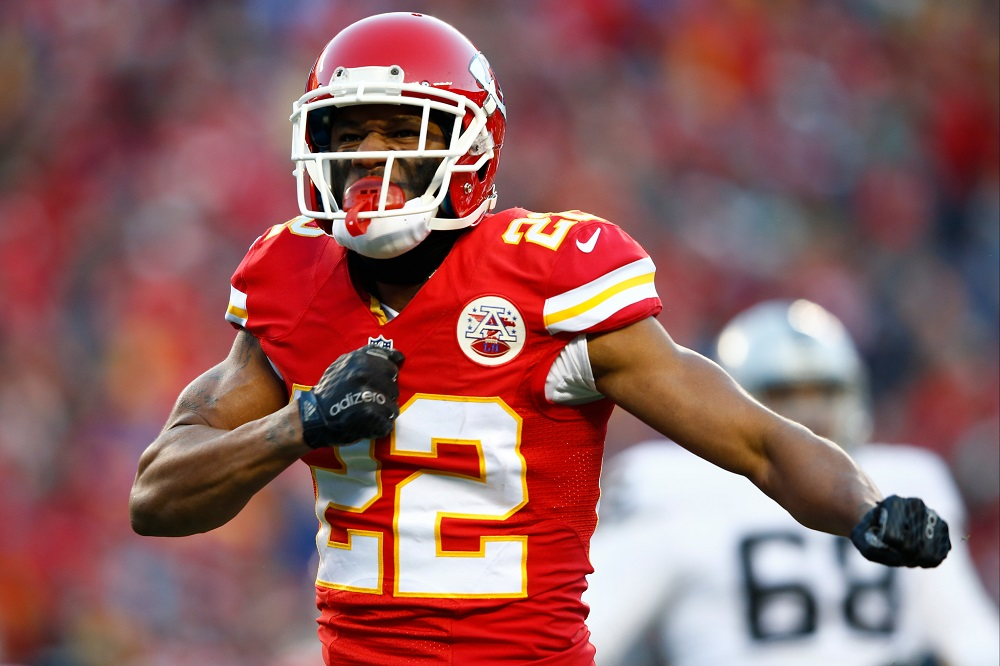 Marcus Peters #22 of the Kansas City Chiefs posing in a football game