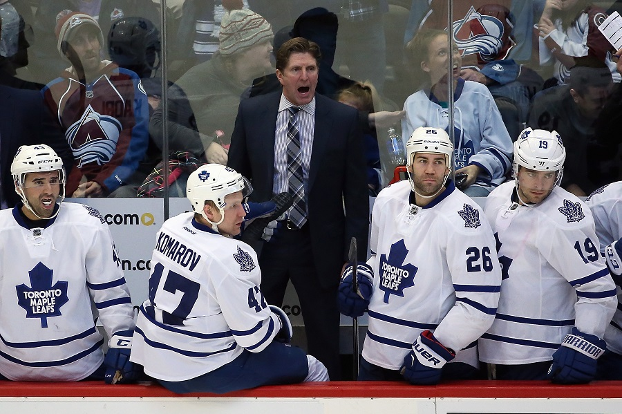 Head coach Mike Babcock of the Toronto Maple Leafs during a NHL game