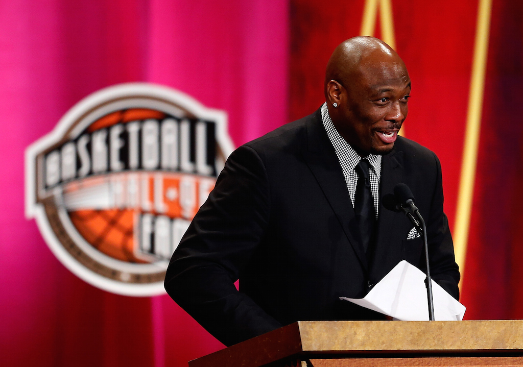 Jim Rogash/Getty Images Mitch Richmond speaks during the 2014 Basketball Hall of Fame Enshrinement Ceremony at Symphony Hall