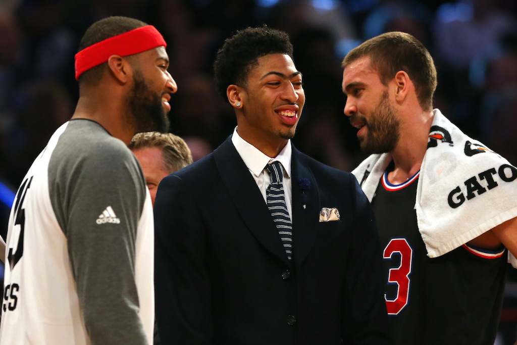 Cousins, Davis, and Gasol chat at the 2015 NBA All-Star Game