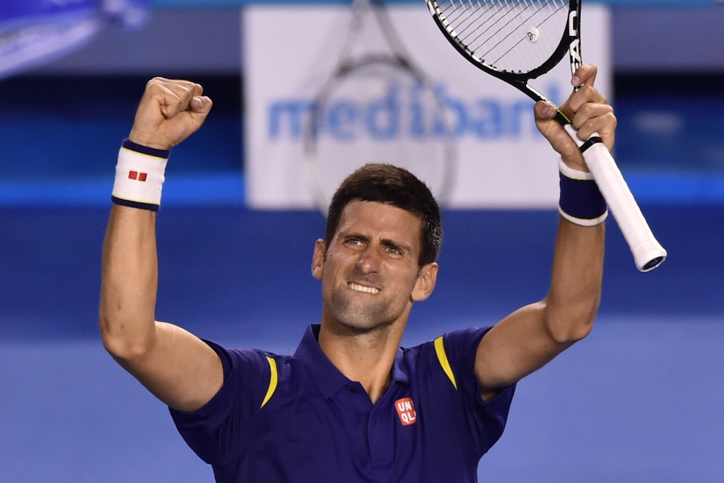 Serbia's Novak Djokovic celebrates victory during his men's singles semi-final match at the Australian Open