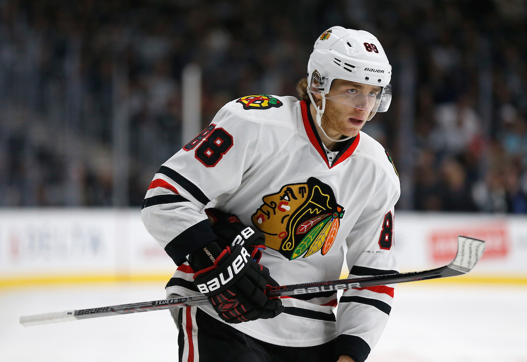 Patrick Kane waits for the play to begin