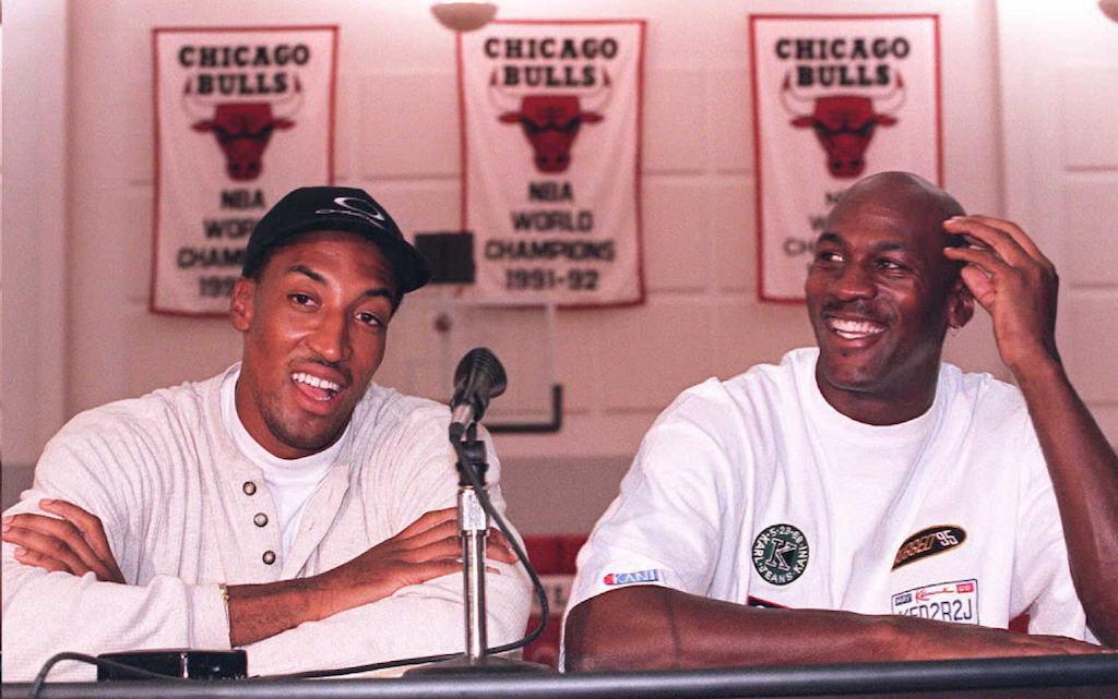 Scottie Pippen and Michael Jordan address the media