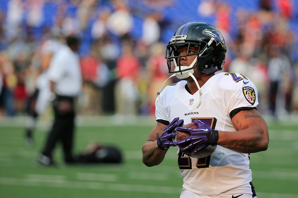 BALTIMORE, MD - AUGUST 07:  Running back  Ray Rice #27 of the Baltimore Ravens warms up before the start of an NFL pre-season game against the San Francisco 49ers at M&T Bank Stadium on August 7, 2014 in Baltimore, Maryland.