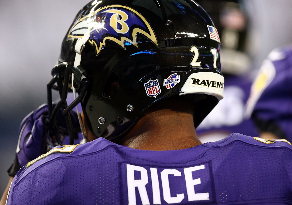 ARLINGTON, TX - AUGUST 16:  Ray Rice #27 of the Baltimore Ravens sits on the bench against the Dallas Cowboys in the first half of their preseason game at AT&T Stadium on August 16, 2014 in Arlington, Texas.