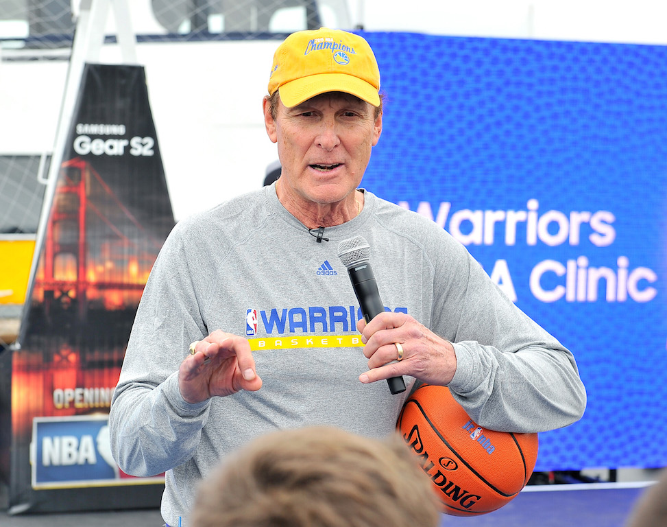 NBA legend Rick Barry speaks on the Samsung LED Court at NBA Opening Night 2015 at Pier 43