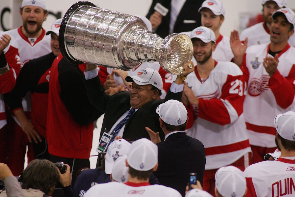 Scotty Bowman hoists the Stanley Cup