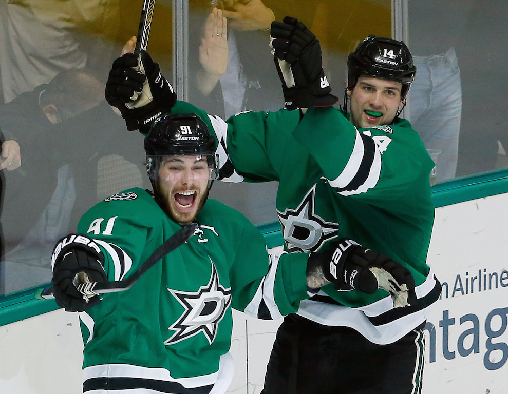 Tyler Seguin #91 of the Dallas Stars and Jamie Benn #14 of the Dallas Stars celebrate after the Stars score against the Buffalo Sabres